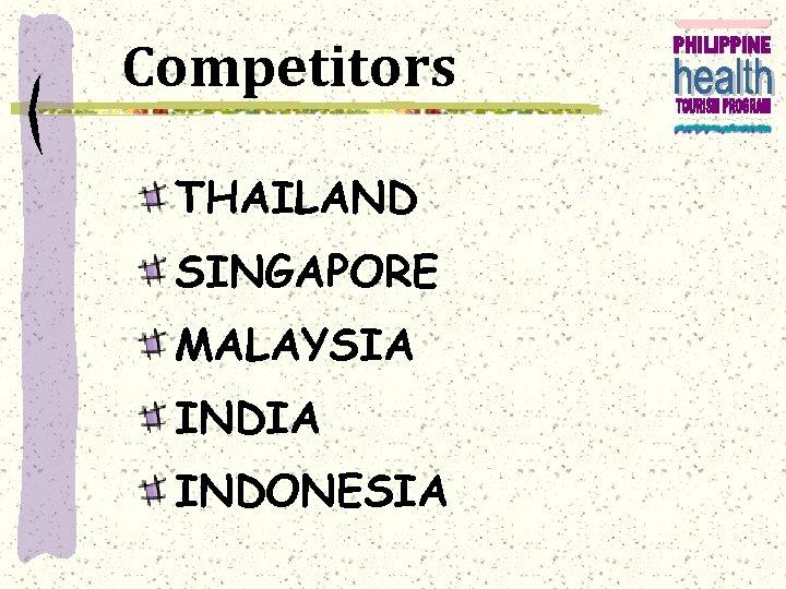 Competitors THAILAND SINGAPORE MALAYSIA INDONESIA