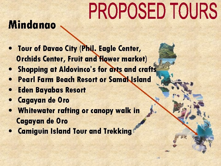 Mindanao • Tour of Davao City (Phil. Eagle Center, Orchids Center, Fruit and flower