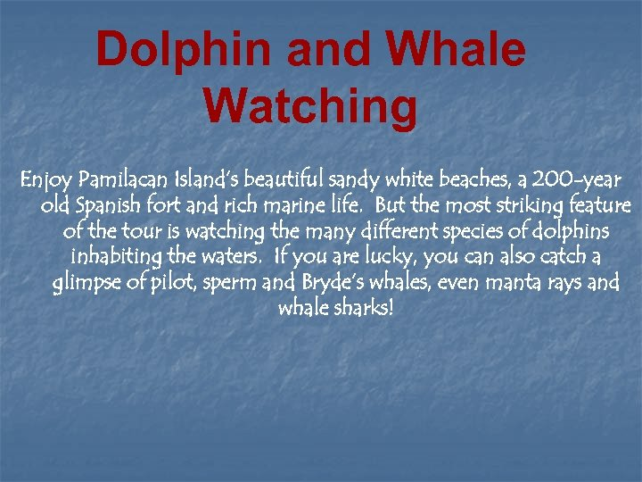 Dolphin and Whale Watching Enjoy Pamilacan Island's beautiful sandy white beaches, a 200 -year