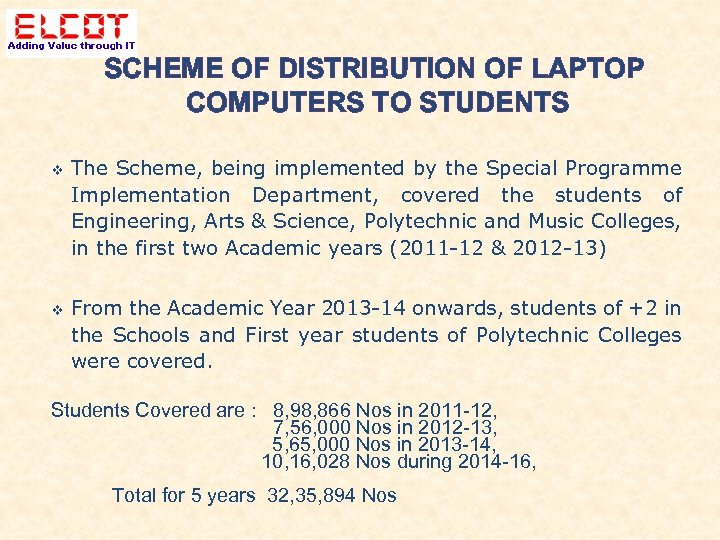 SCHEME OF DISTRIBUTION OF LAPTOP COMPUTERS TO STUDENTS The Scheme, being implemented by the