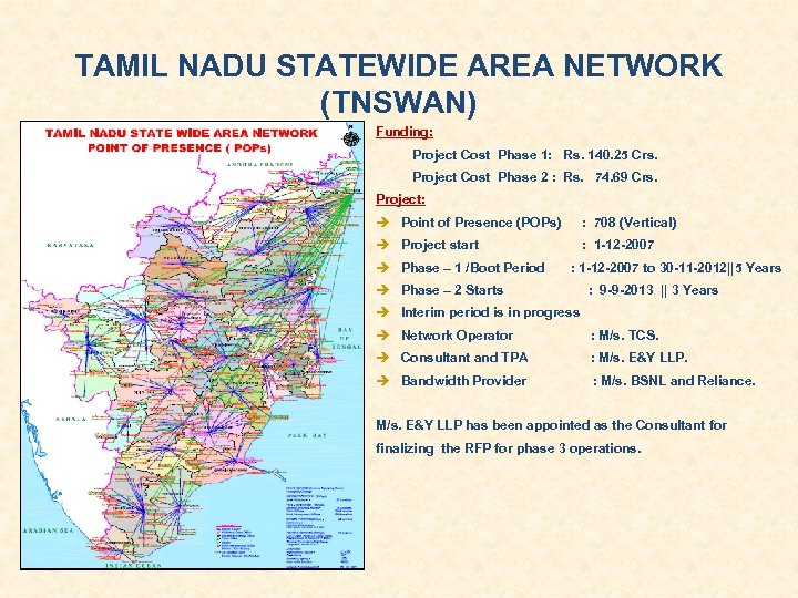 TAMIL NADU STATEWIDE AREA NETWORK (TNSWAN) Funding: Project Cost Phase 1: Rs. 140. 25