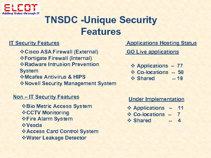TNSDC -Unique Security Features IT Security Features Cisco ASA Firewall (External) Fortigate Firewall (Internal)