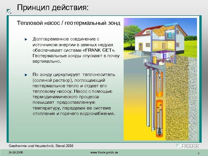 Принцип действия: Тепловой насос / геотермальный зонд Долговременное соединение с источником энергии в земных