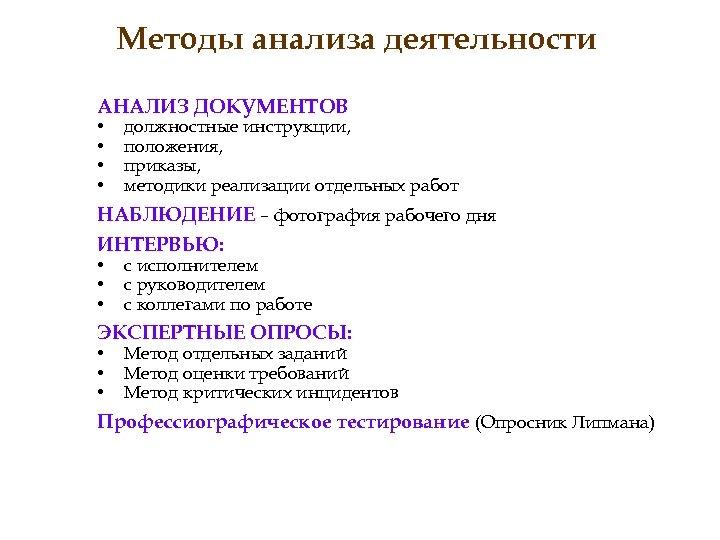 Методы анализа деятельности АНАЛИЗ ДОКУМЕНТОВ • • должностные инструкции, положения, приказы, методики реализации отдельных