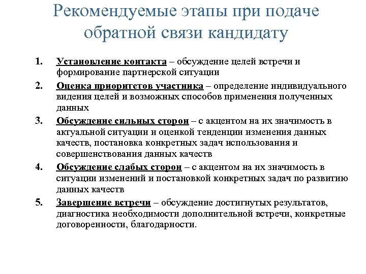 Рекомендуемые этапы при подаче обратной связи кандидату 1. 2. 3. 4. 5. Установление контакта