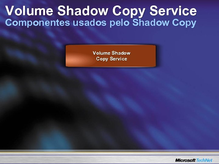 Volume Shadow Copy Service Componentes usados pelo Shadow Copy Volume Shadow Copy Service