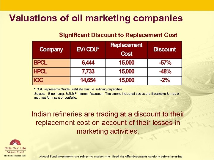 Valuations of oil marketing companies Significant Discount to Replacement Cost * CDU represents Crude