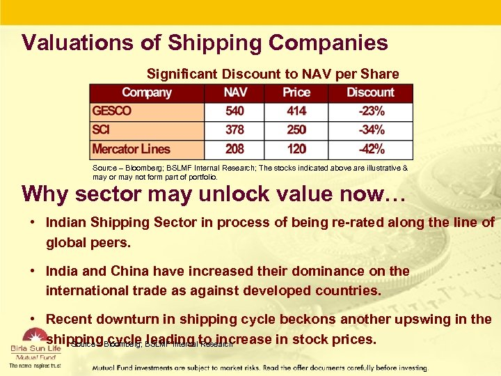 Valuations of Shipping Companies Significant Discount to NAV per Share Source – Bloomberg; BSLMF