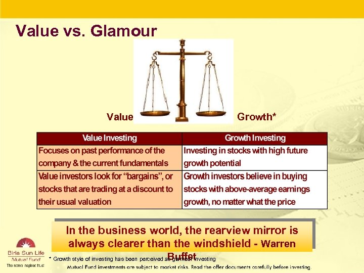 Value vs. Glamour Value Growth* In the business world, the rearview mirror is always