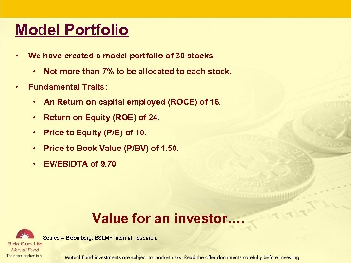 Model Portfolio • We have created a model portfolio of 30 stocks. • Not