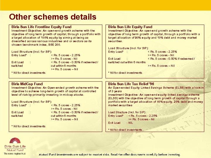 Other schemes details Birla Sun Life Frontline Equity Fund Birla Sun Life Equity Fund