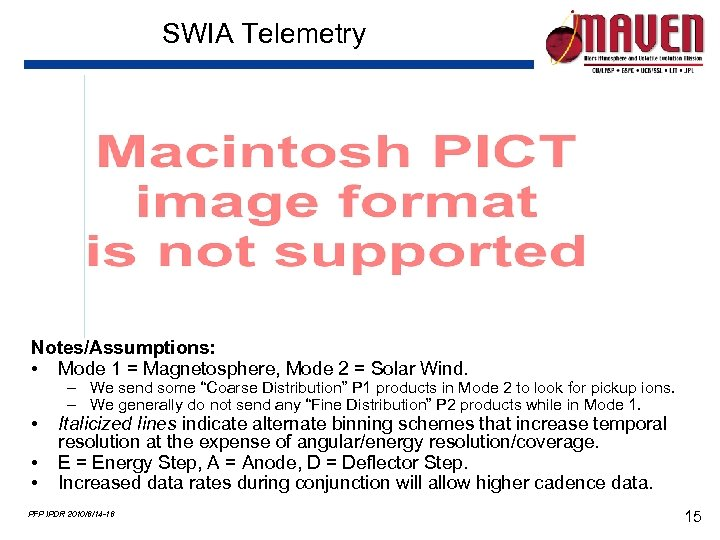 SWIA Telemetry Notes/Assumptions: • Mode 1 = Magnetosphere, Mode 2 = Solar Wind. •
