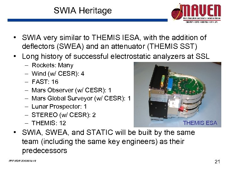 SWIA Heritage • SWIA very similar to THEMIS IESA, with the addition of deflectors