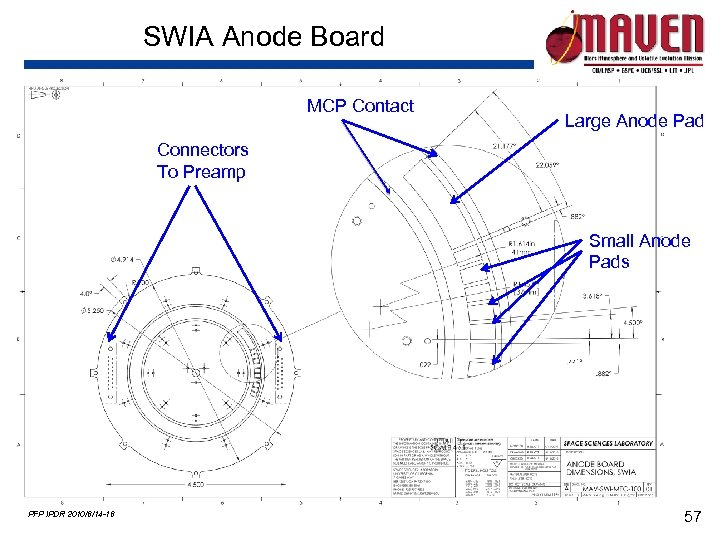 SWIA Anode Board MCP Contact Large Anode Pad Connectors To Preamp Small Anode Pads