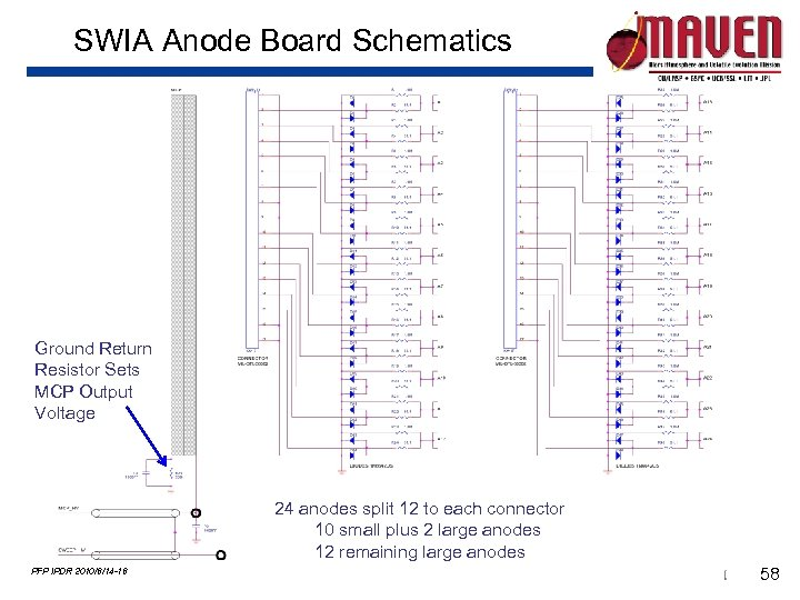 SWIA Anode Board Schematics Ground Return Resistor Sets MCP Output Voltage 24 anodes split