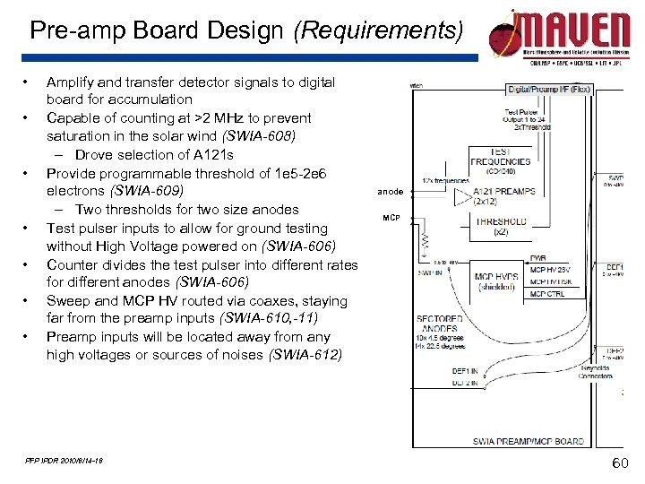 Pre-amp Board Design (Requirements) • • Amplify and transfer detector signals to digital board