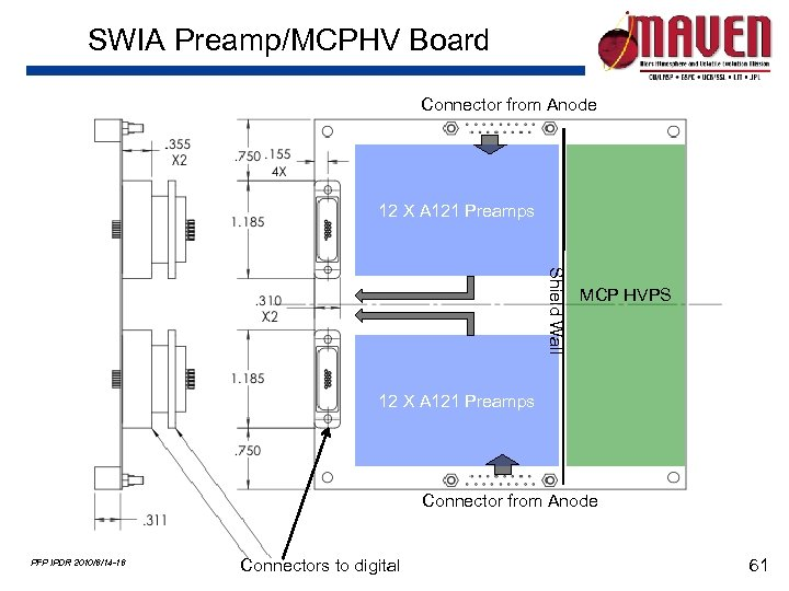 SWIA Preamp/MCPHV Board Connector from Anode 12 X A 121 Preamps Shield Wall MCP