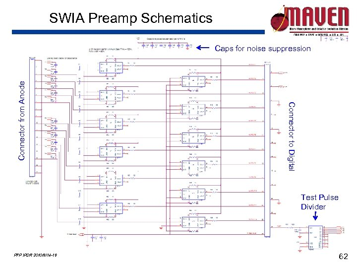 SWIA Preamp Schematics Connector to Digital Connector from Anode Caps for noise suppression Test