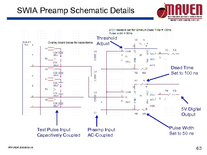 SWIA Preamp Schematic Details Threshold Adjust Dead Time Set to 100 ns 5 V