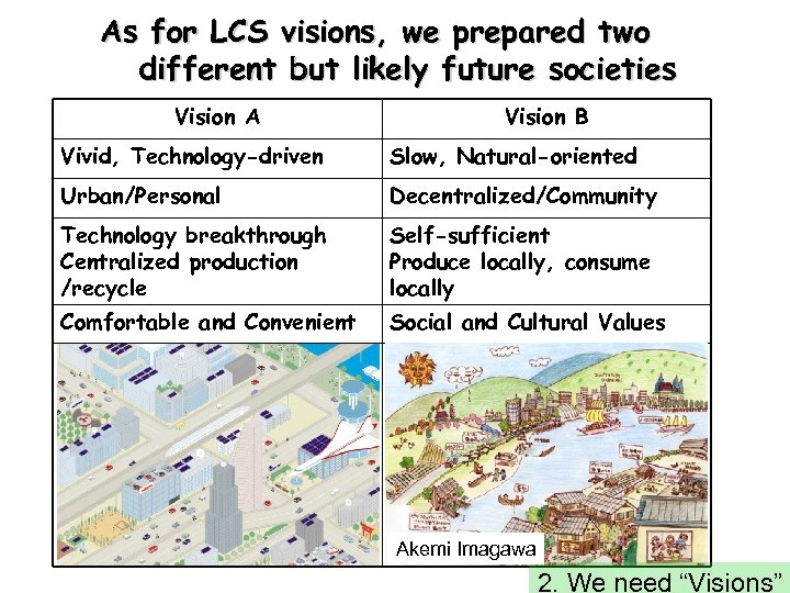 As for LCS visions, we prepared two different but likely future societies Vision A