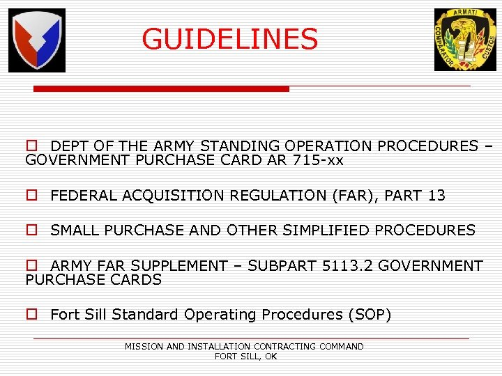GUIDELINES o DEPT OF THE ARMY STANDING OPERATION PROCEDURES – GOVERNMENT PURCHASE CARD AR