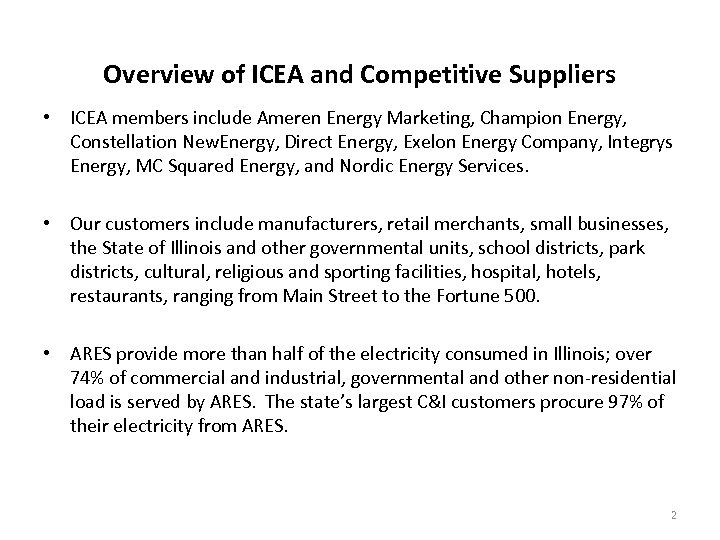 Overview of ICEA and Competitive Suppliers • ICEA members include Ameren Energy Marketing, Champion