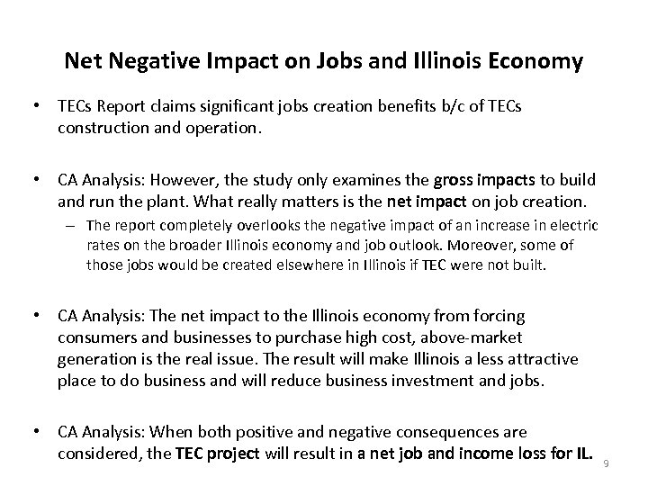 Net Negative Impact on Jobs and Illinois Economy • TECs Report claims significant jobs