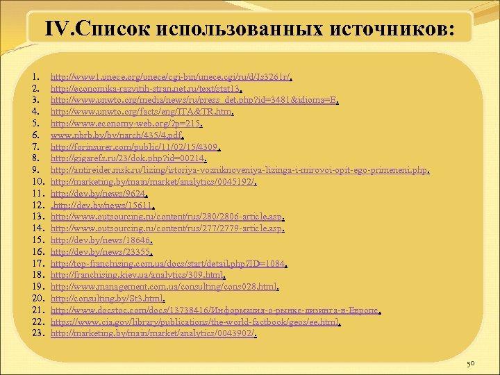 IV. Список использованных источников: 1. 2. 3. 4. 5. 6. 7. 8. 9. 10.