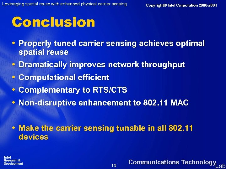Leveraging spatial reuse with enhanced physical carrier sensing Copyright© Intel Corporation 2000 -2004 Conclusion