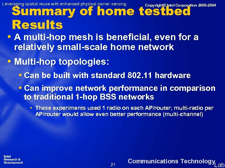 Leveraging spatial reuse with enhanced physical carrier sensing Summary of home testbed Results Copyright©
