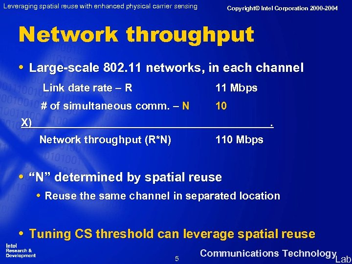 Leveraging spatial reuse with enhanced physical carrier sensing Copyright© Intel Corporation 2000 -2004 Network