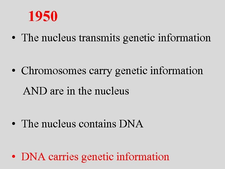 1950 • The nucleus transmits genetic information • Chromosomes carry genetic information AND are