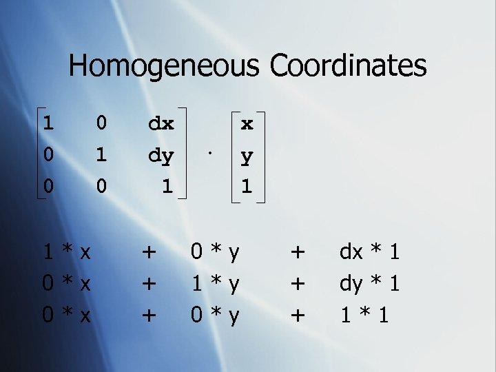 Homogeneous Coordinates 1 0 0 1*x 0*x 0 1 0 dx dy 1 +