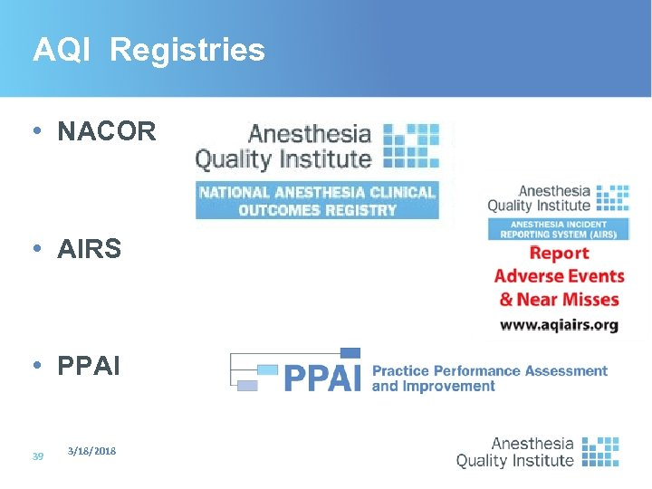 AQI Registries • NACOR • AIRS • PPAI 39 3/18/2018