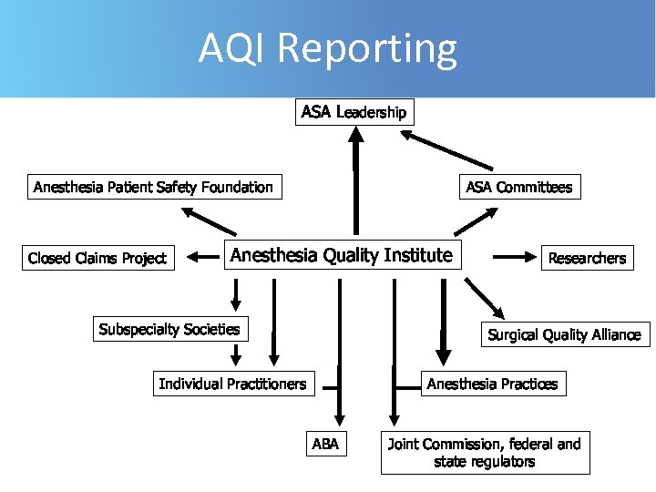 AQI Reporting ASA Leadership Anesthesia Patient Safety Foundation Closed Claims Project ASA Committees Anesthesia