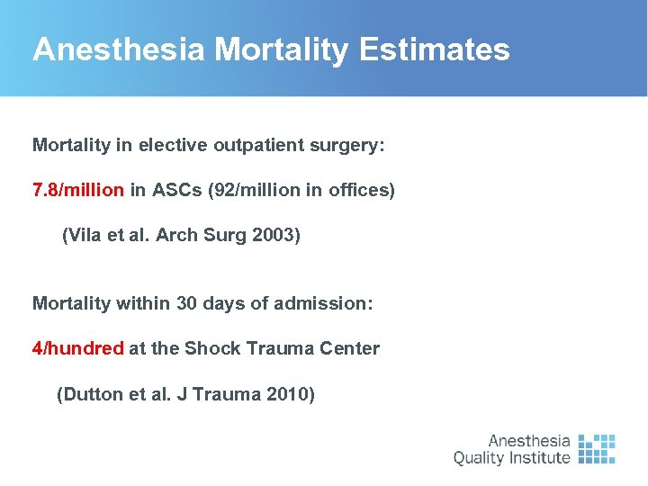 Anesthesia Mortality Estimates Mortality in elective outpatient surgery: 7. 8/million in ASCs (92/million in