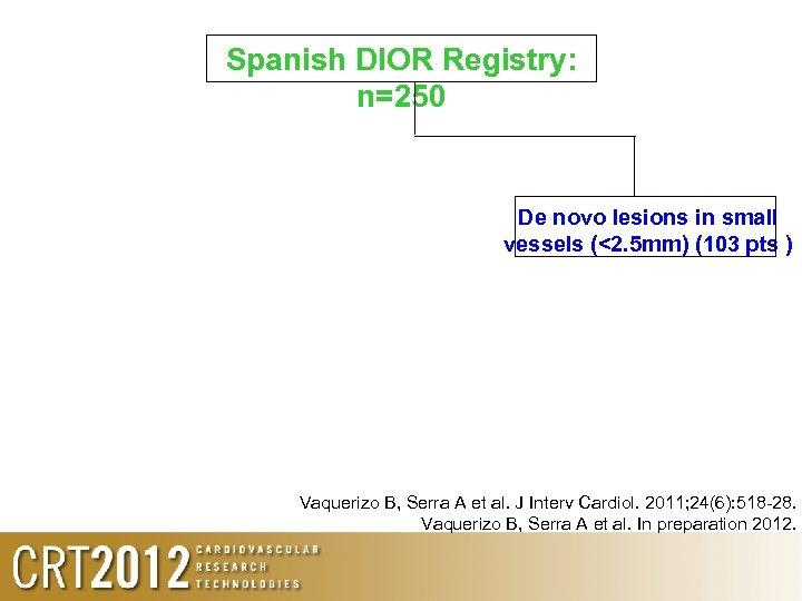 Spanish DIOR Registry: n=250 De novo lesions in small vessels (<2. 5 mm) (103