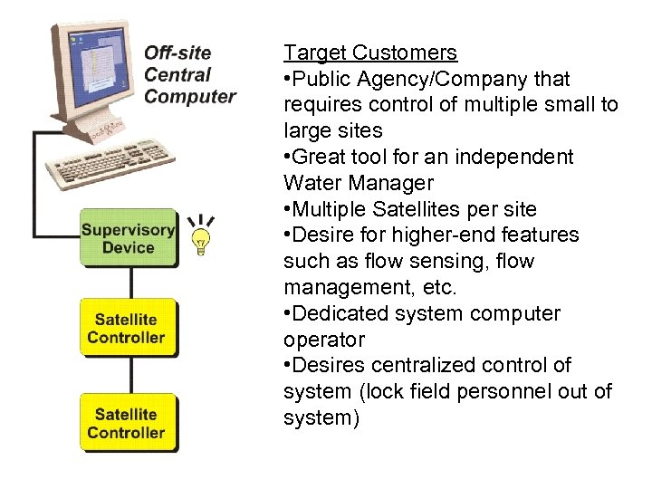 Target Customers • Public Agency/Company that requires control of multiple small to large sites
