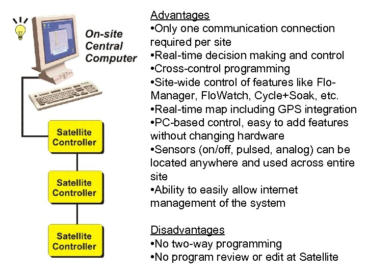 Advantages • Only one communication connection required per site • Real-time decision making and