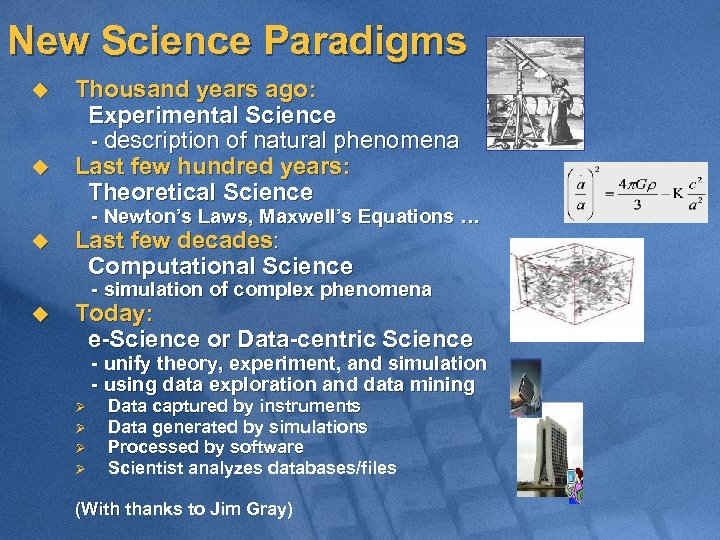 New Science Paradigms u u Thousand years ago: Experimental Science - description of natural