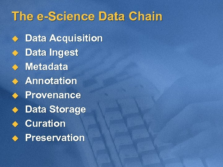 The e-Science Data Chain u u u u Data Acquisition Data Ingest Metadata Annotation
