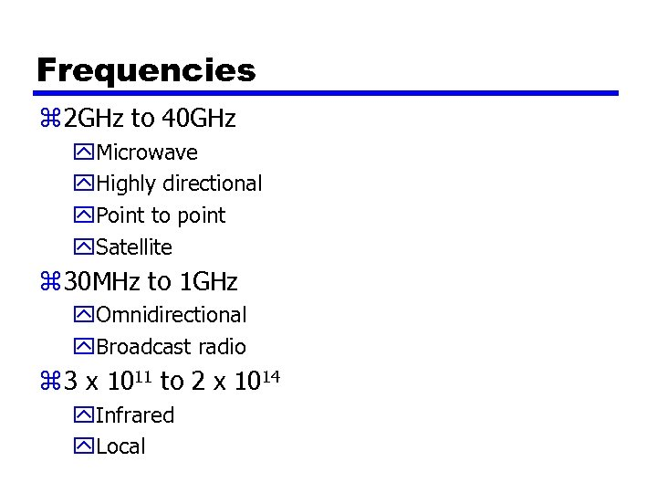 Frequencies z 2 GHz to 40 GHz y. Microwave y. Highly directional y. Point