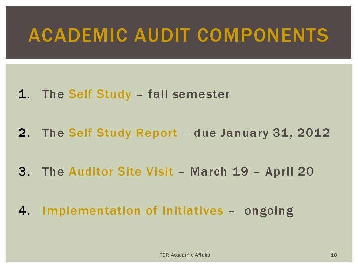 ACADEMIC AUDIT COMPONENTS 1. The Self Study – fall semester 2. The Self Study