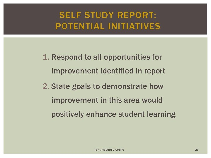 SELF STUDY REPORT: POTENTIAL INITIATIVES 1. Respond to all opportunities for improvement identified in
