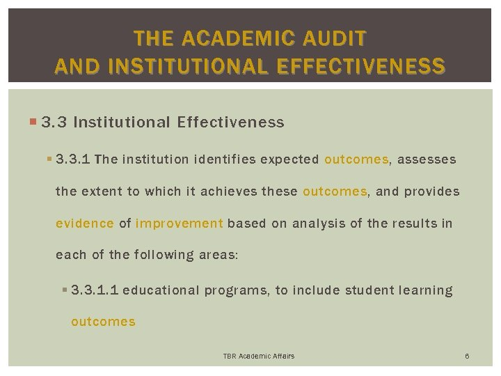 THE ACADEMIC AUDIT AND INSTITUTIONAL EFFECTIVENESS 3. 3 Institutional Effectiveness § 3. 3. 1