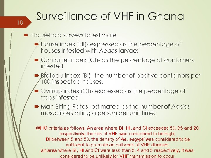 10 Surveillance of VHF in Ghana Household surveys to estimate House index (HI)- expressed