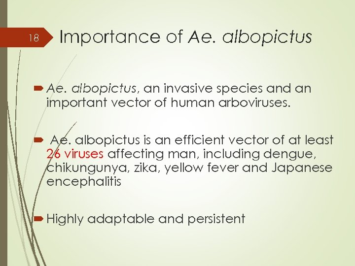 18 Importance of Ae. albopictus, an invasive species and an important vector of human
