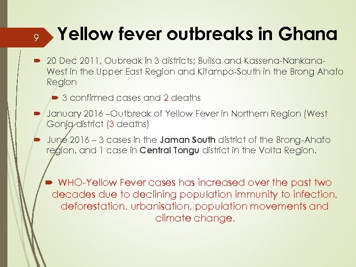 9 Yellow fever outbreaks in Ghana 20 Dec 2011, Oubreak in 3 districts; Builsa
