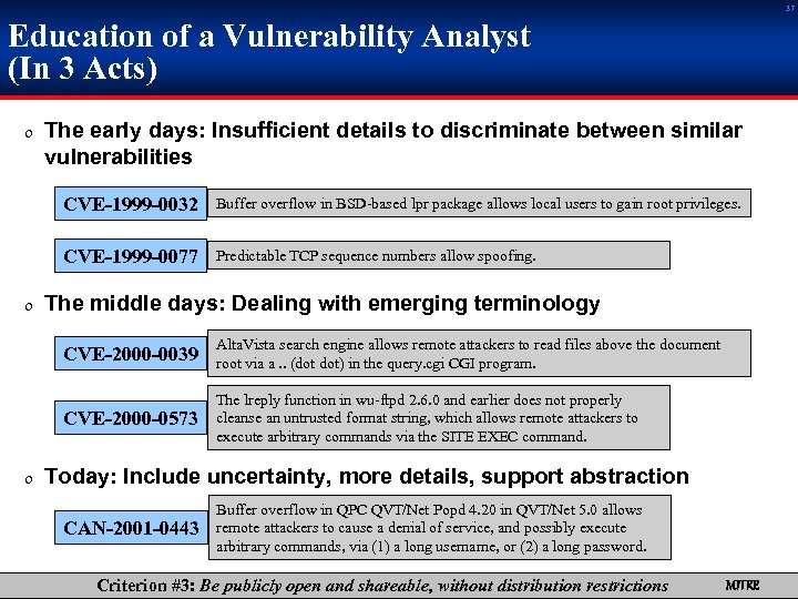 37 Education of a Vulnerability Analyst (In 3 Acts) 0 The early days: Insufficient