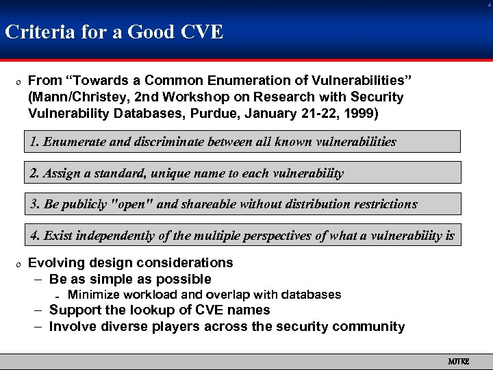 "6 Criteria for a Good CVE 0 From ""Towards a Common Enumeration of Vulnerabilities"""